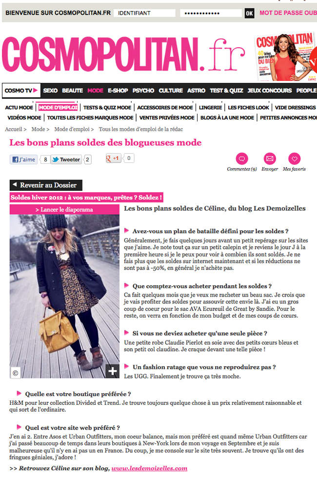 cosmopolitain soldes2012